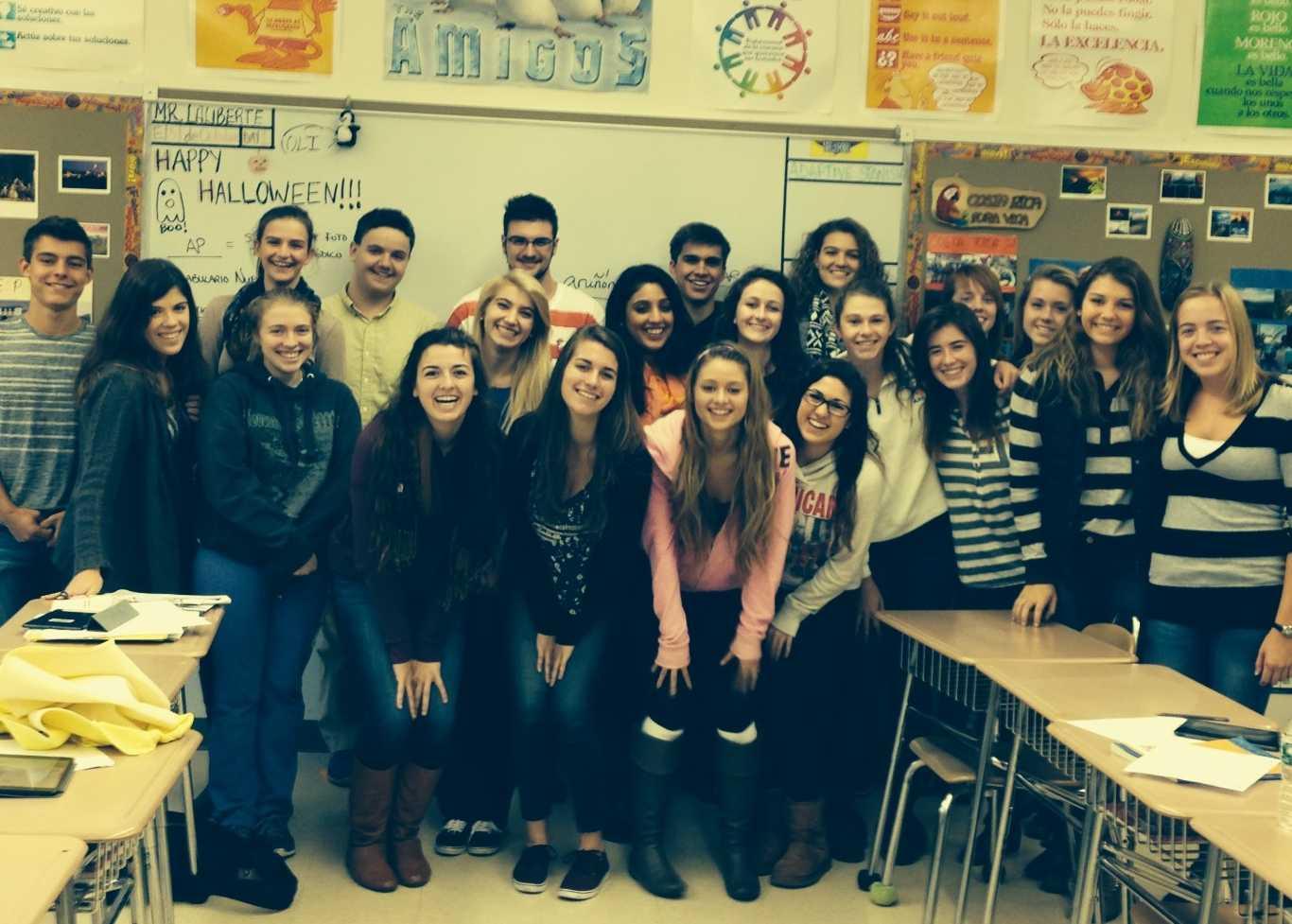 Students in Mr. Adam Laliberte's AP Spanish class