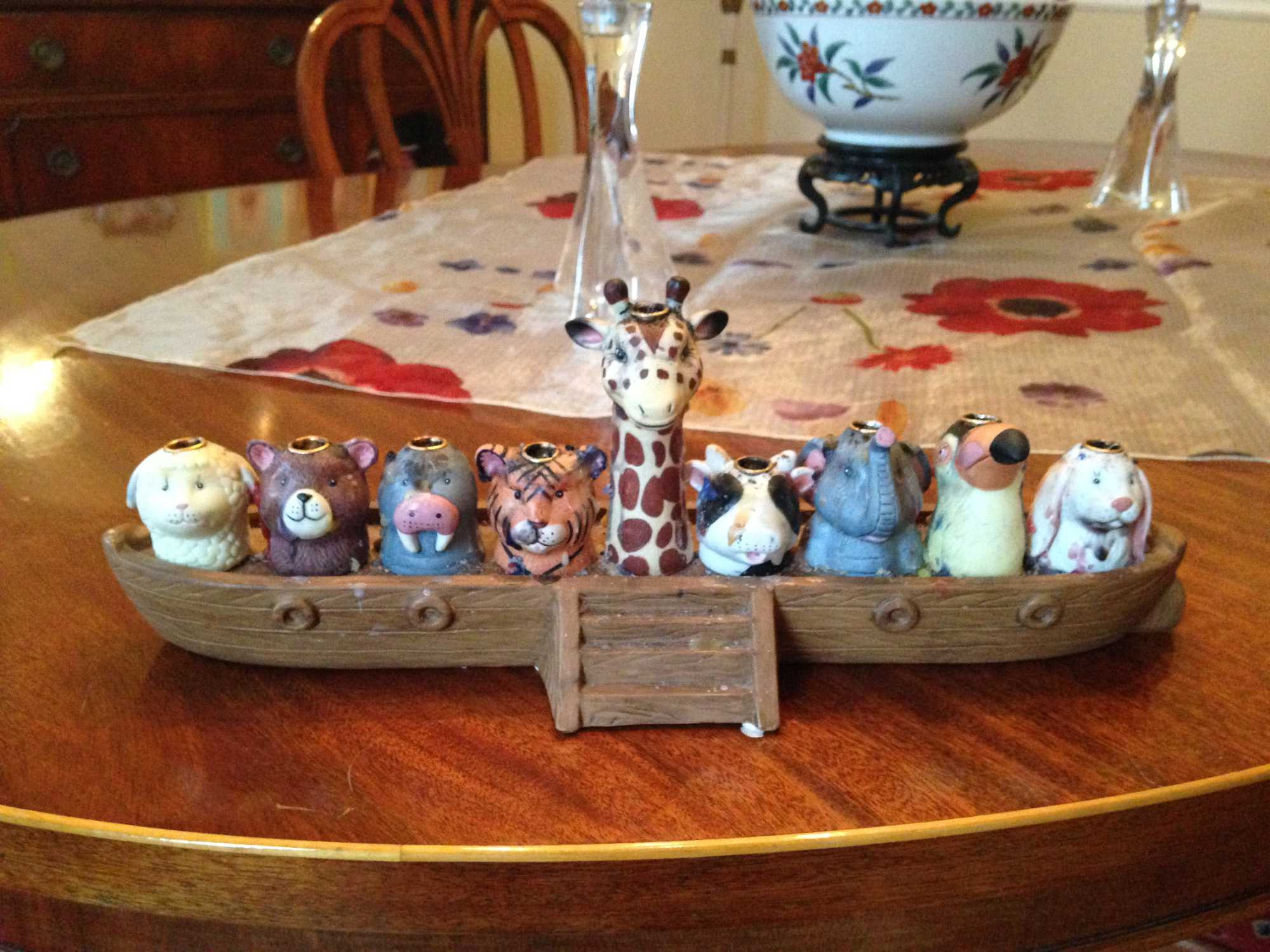 Sophomore Stephanie Krueger's menorah is pictured. It is modeled after Noah's Ark. The Kruegers have a more traditional-looking menorah as well.