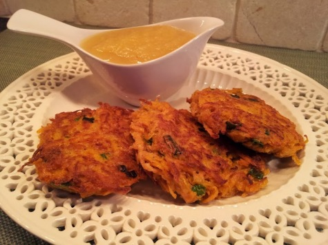 Sweet potato latkes with apple sauce