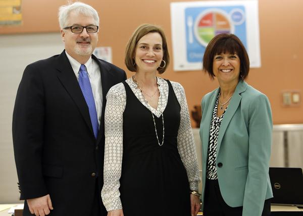 Left to right, Dr. Phil Auger, Dr. Denise Mancieri, and Dr. Michele Humbyrd pose for a picture at the School Committee meeting on April 14.