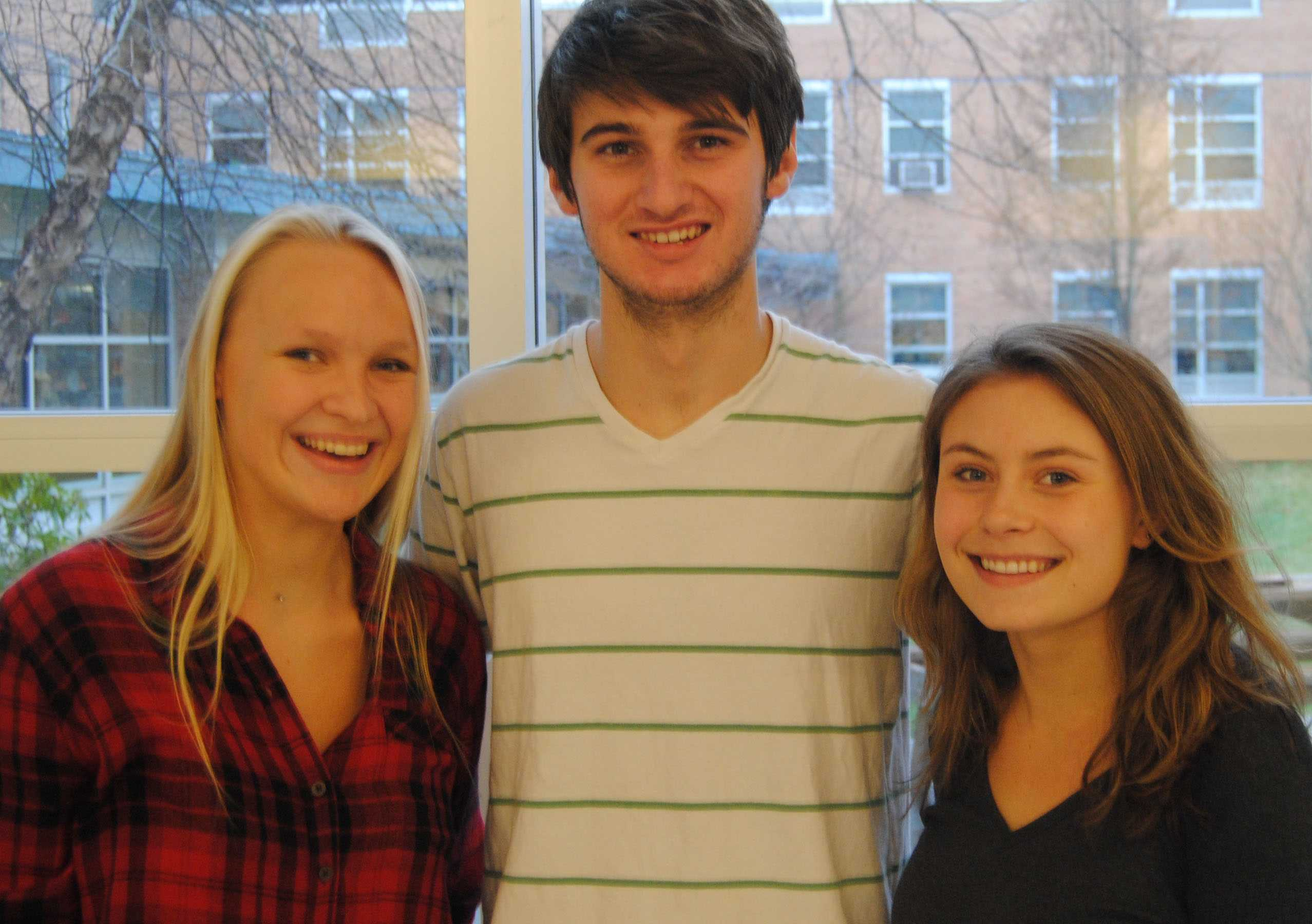 From left: French-American students Diana Raterron, Marcel Desvaux, and Coralie Wilcox