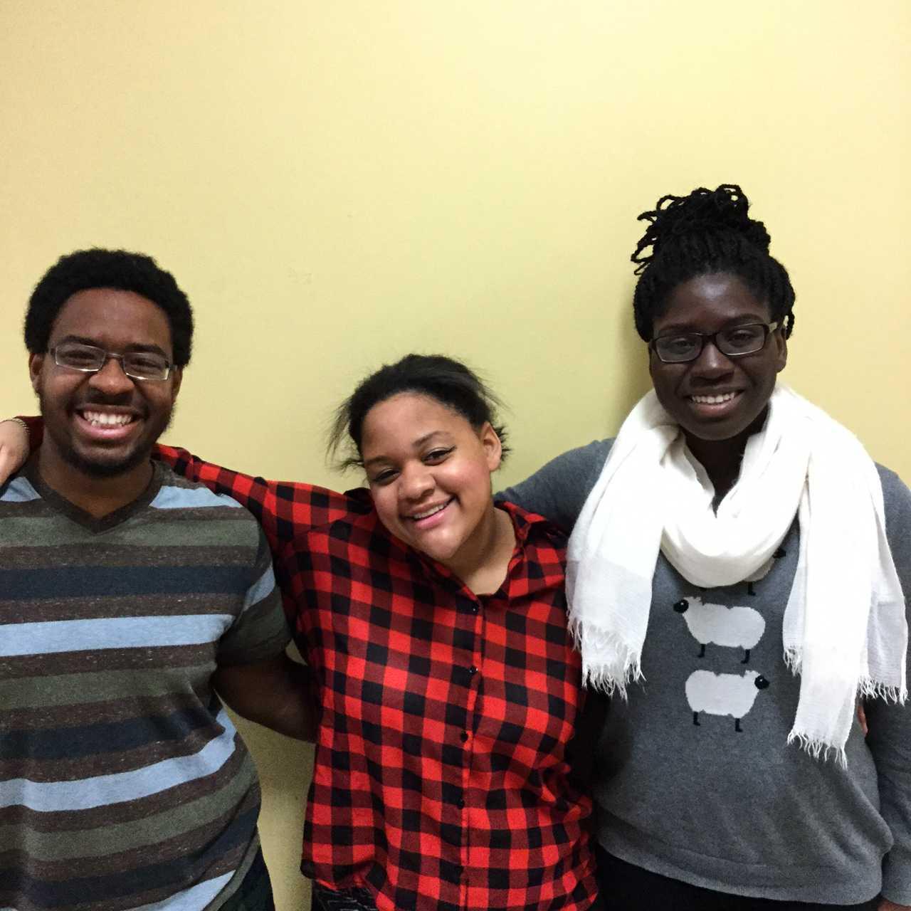 From left, seniors Brandon Harris, Becca Stevenson, and Joyce Omaiye