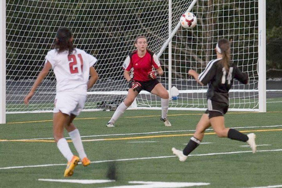 Senior goal keeper Meghan ONeill makes a save during a fall outdoor game for NKHS.