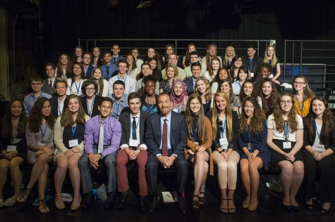 The 51 members of the Class of 2016 at the Al Neuharth Free Spirit and Journalism Conference pose for a photo with Chuck Todd in his studio on June 19 after he recorded Meet the Press.